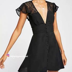 NWT free people black v-neck summer dress M